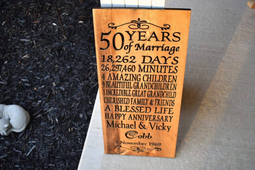 Woodworking By LPI - 50th Anniversary with dates and children