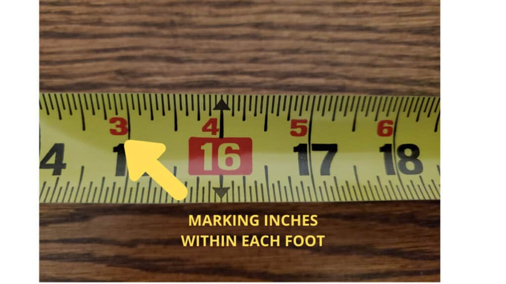 Woodworking By LPI - Tape Measure Marking Each Inch Within Foot
